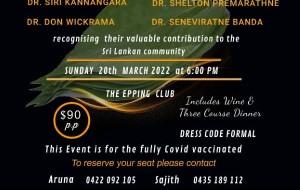 Felicitation Ceremony –paying tributes to Dr. Siri Kannangara, Dr. Shelton Premarathne, Dr. Don Wickrama & Dr. Seneviratne Banda – 20th March 2022 (Sydney event)